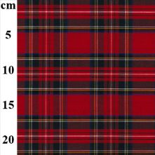 Red and Black 1980's Style 'Punk' Royal Stewart Tartan 100% Cotton Fabric 147cm x 0.5m